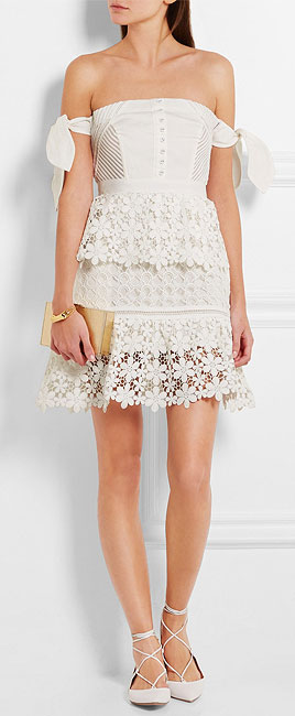 SELF-PORTRAIT Off-the-shoulder guipure lace and twill mini dress