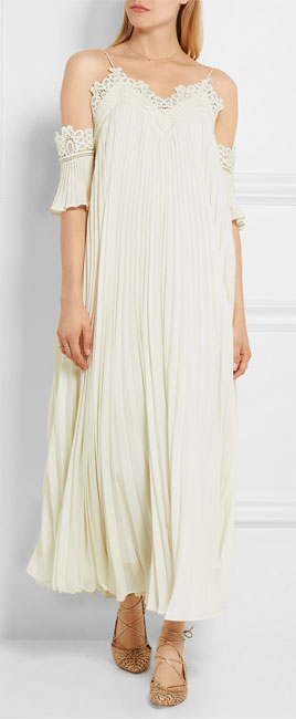 SELF-PORTRAIT Off-the-shoulder pleated guipure lace-trimmed chiffon gown