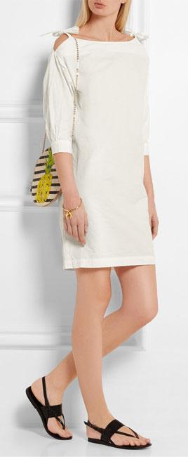 MIH JEANS Patou crinkled cotton-poplin mini dress