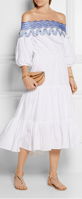 PETER PILOTTO Pallas off-the-shoulder embroidered cotton-blend dress
