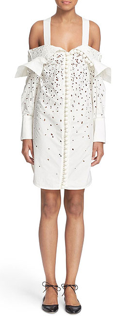 Proenza Schouler Off the Shoulder Embroidered Cotton Dress
