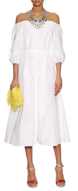 ANNA OCTOBER Liv fil coupé off-the-shoulder cotton-blend dress