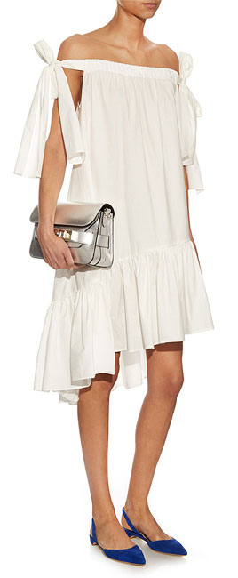 MSGM Asymmetrical Off-Shoulder Dress