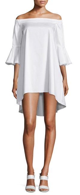 N Nicholas Off-The-Shoulder High-Low Cotton Dress
