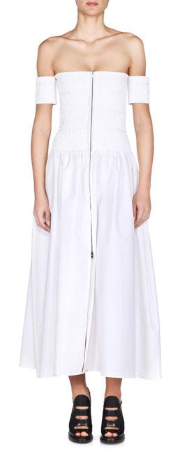 FENDI Off-the-shoulder embroiderd cotton-poplin midi dress