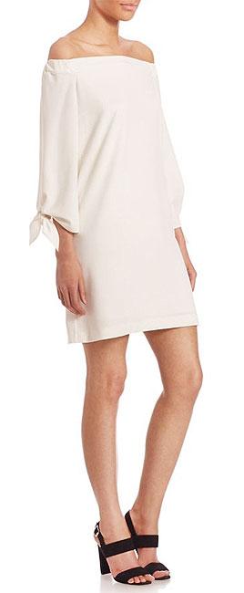 Tibi Structured Off-The-Shoulder Crepe Dress