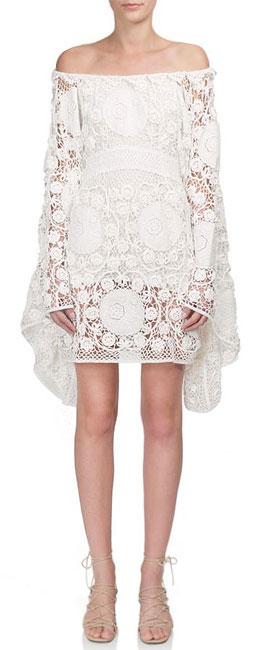 Chloé Off-The-Shoulder Crochet Dress