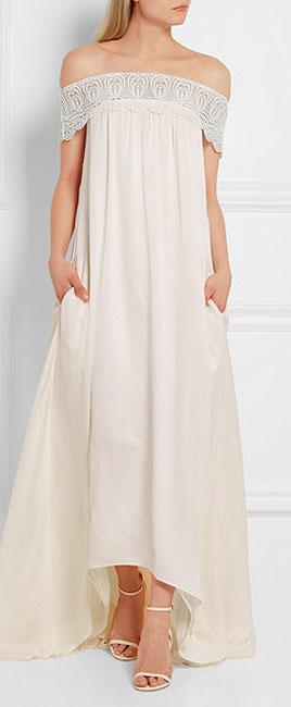 SELF-PORTRAIT Bardot guipure lace-trimmed satin gown