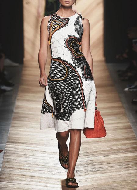 Bottega Veneta Abstract-Appliqué Sleeveless Dress SS16