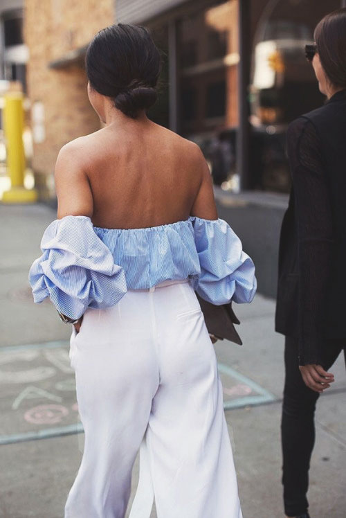 Off the Shoulder Top + White Wide-Leg