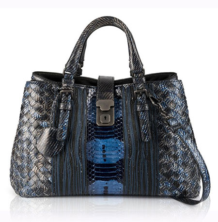 Bottega-Veneta-Roma-Karung-Small-Watersnake-Satchel-Bag