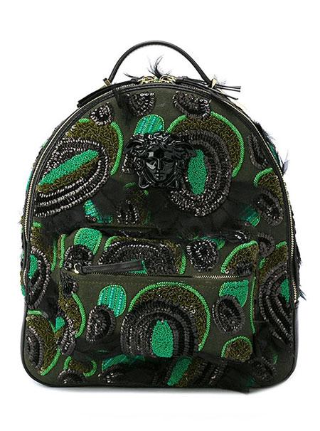 Versace-embellished-backpack-Green