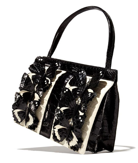 Nancy Gonzalez Crocodile Medium Butterfly Striped Frame Bag