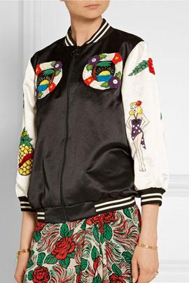 Anna Sui Embellished cotton-blend bomber jacket