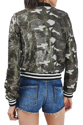 Topshop Camouflage Inspired Sequin Bomber Jacket