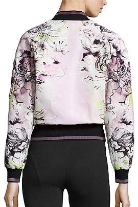 Roberto Cavalli Floral-Print Zip-Front Bomber Jacket