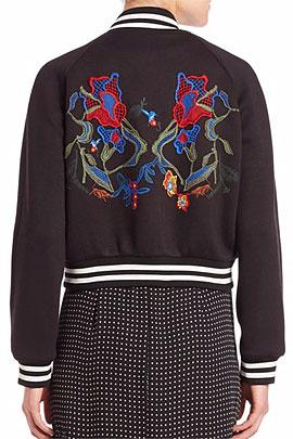 Tibi Marisol Embroidery Neo Bomber Jacket