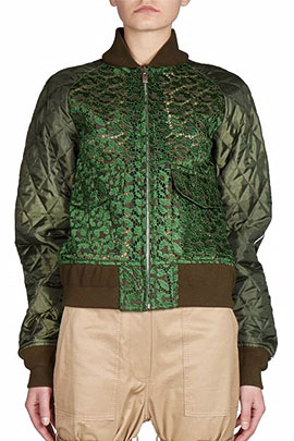 Sacai Leopard Lace Front Bomber Jacket