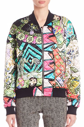 Etro 'Arcade' Print Quilted Silk Bomber Jacket