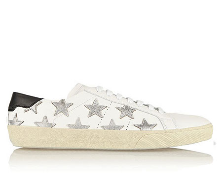 Saint Laurent Court Classic Leather & Metallic Star Sneakers