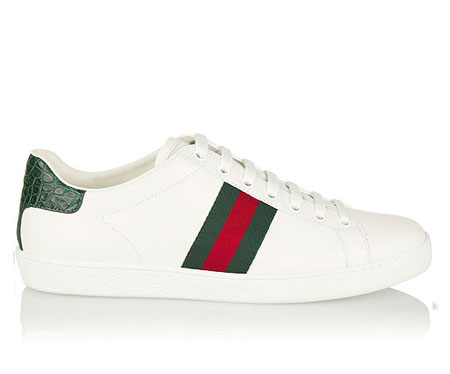 GUCCI New Ace watersnake-trimmed leather sneakers
