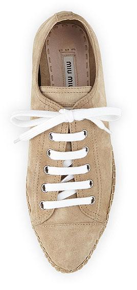 Miu Miu Suede Lace-Up Platform Espadrille Sneakers
