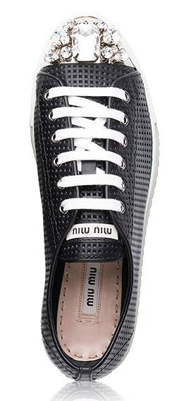 Miu Miu Swarovski Crystal Cap-Toe Suede Sneakers
