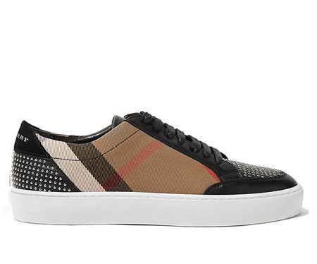 BURBERRY LONDON London studded leather and checked canvas sneakers