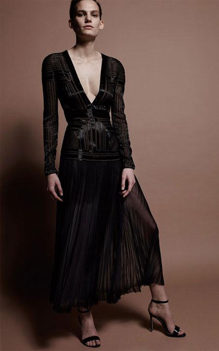 J. Mendel Beaded Long-Sleeve V-Neck Dress