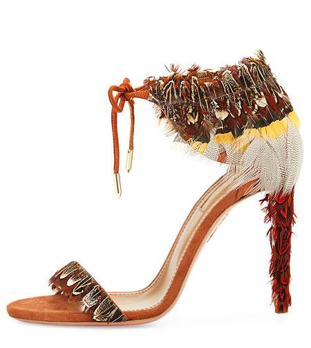 Aquazurra Rio Feather Ankle-Tie Sandal