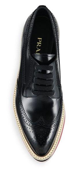 Prada Brogue Leather Platform Oxfords