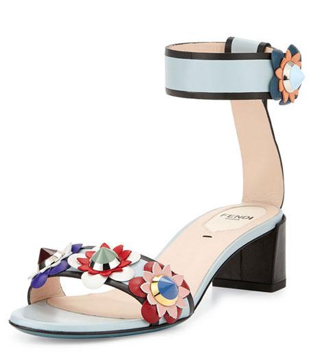 Fendi Flowerland Leather Ankle-Wrap Sandal