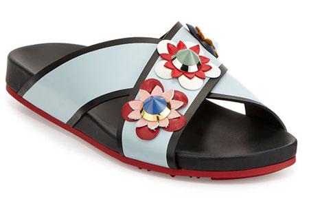 Fendi Flowerland Crisscross Flat Sport Slide Sandal