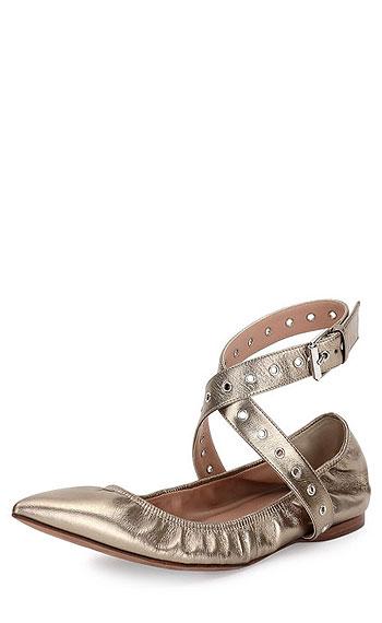 Valentino Love Latch Metallic Ankle-Wrap Flat