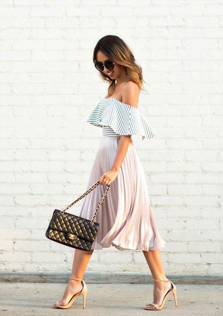 Pleated Midi Skirt Outfit | Lovika