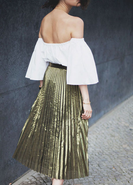 Pleated Midi Skirt Outfit | Lovika
