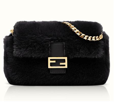 Fendi Micro Shearling Baguette Bag in Black