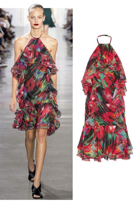 Jason Wu SS16 Blurred Floral Silk Chiffon Halter Dress