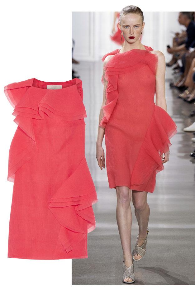 Jason Wu SS16 Ruffled crinkled silk-blend organza dress