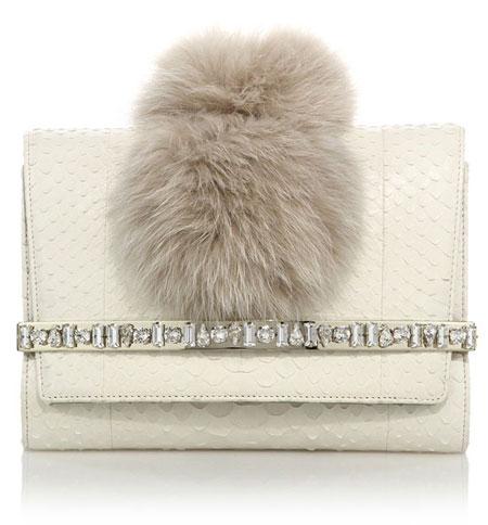 Bow Embellished Python & Fox Fur Clutch