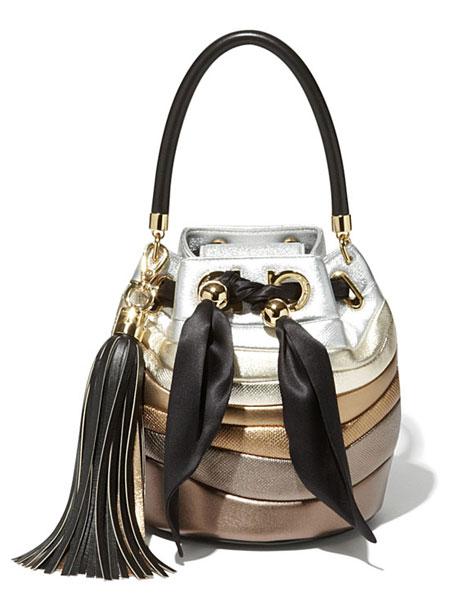 Salvatore Ferragamo By Sara Battaglia Stripe Metallic Leather Bucket Bag