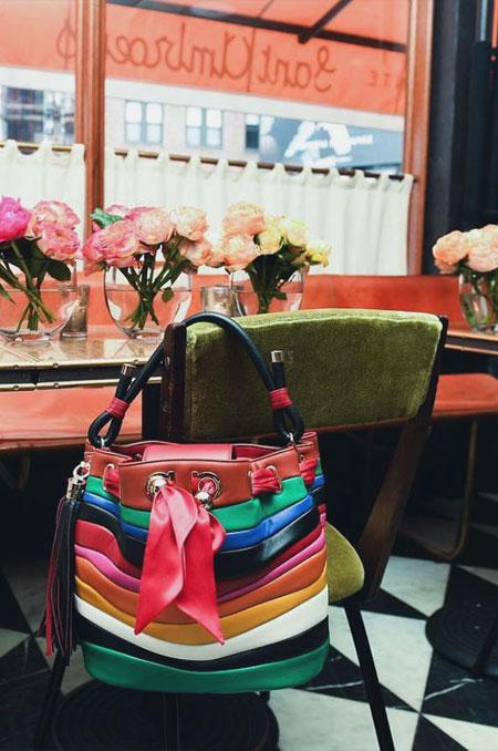 Salvatore Ferragamo x Sara Battaglia Rainbow Stripe Leather Bucket Bag