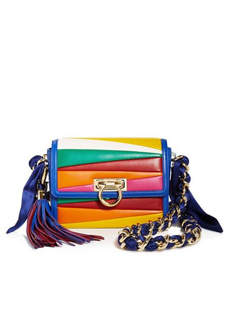 Salvatore Ferragamo By Sara Battaglia Solaria Small Multicolor Stripe Leather Crossbody Bag
