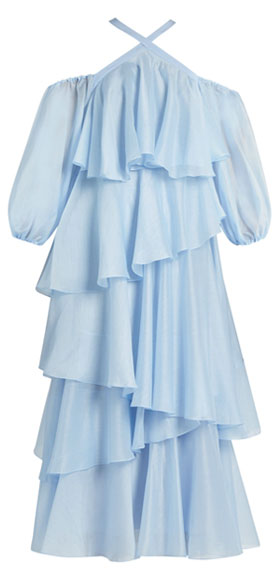Anna October Cross-strap tiered-ruffled georgette dress