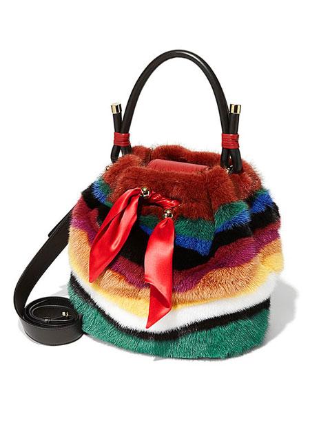Salvatore Ferragamo By Sara Battaglia Multicolor Striped Mink Fur Bucket Bag