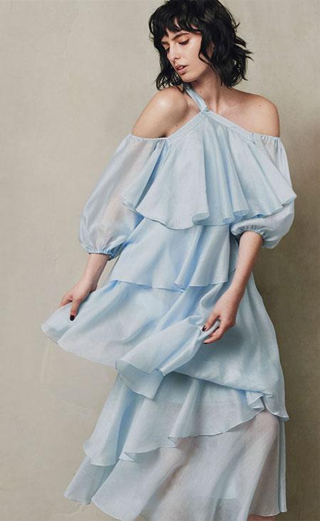 Anna October Tiered-Ruffled Summer Dress #PaleBlue