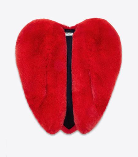 Saint Laurent Heart Cape in Red Fox Fur #FW16