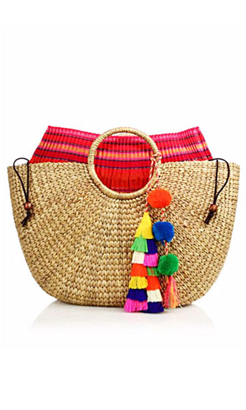 JADEtribe Tassel Pom-Pom Beach Basket Tote Bag #Summer