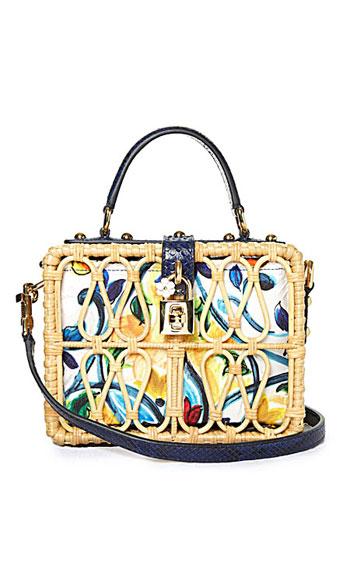 Dolce & Gabbana Majolica-print snakeskin and wicker box clutch bag #summer