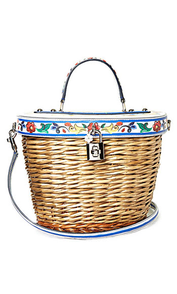 Dolce & Gabbana Majolica-print leather and wicker basket bag #summer #picnic